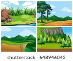 four forest scenes at daytime... | Shutterstock .eps vector #648946042