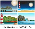 four scenes with lighthouse and ... | Shutterstock .eps vector #648946156