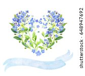 Watercolor Heart Shaped And...