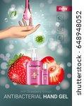 strawberry flavor antibacterial ... | Shutterstock .eps vector #648948052