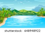 river scene with trees and... | Shutterstock .eps vector #648948922