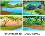 four scenes of forests... | Shutterstock .eps vector #648948982