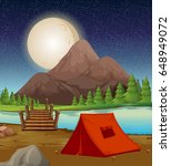camping ground with tent by the ... | Shutterstock .eps vector #648949072