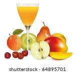 fresh fruit and juice. vector... | Shutterstock .eps vector #64895701