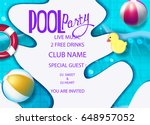 pool party poster with swimming ... | Shutterstock .eps vector #648957052