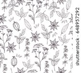 seamless pattern with hand... | Shutterstock .eps vector #648957292