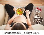 pregnancy and a healthy diet.... | Shutterstock . vector #648958378
