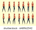 walking woman for animation 14... | Shutterstock .eps vector #648962542