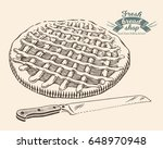 hand drawn pie with knife in... | Shutterstock .eps vector #648970948