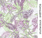 tropical pattern with palm... | Shutterstock .eps vector #648994456