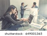 asia team business  meeing... | Shutterstock . vector #649001365