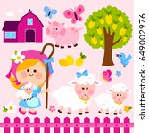 farmer girl shepherdess set... | Shutterstock .eps vector #649002976