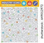 industry icon set clean vector | Shutterstock .eps vector #649012972