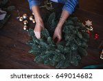 decorator prepares christmas... | Shutterstock . vector #649014682