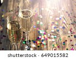 pair glass of champagne. flutes ...   Shutterstock . vector #649015582