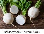 tasty fresh crude white round...   Shutterstock . vector #649017508