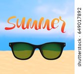summer poster with lettering... | Shutterstock . vector #649017892
