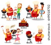 barbecue people vector set for... | Shutterstock .eps vector #649018702