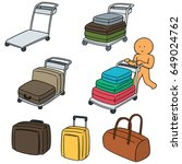 vector set of airport luggage... | Shutterstock .eps vector #649024762