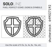 pixel perfect solo line shield... | Shutterstock .eps vector #649027192