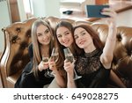 three young girls are doing...   Shutterstock . vector #649028275