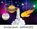 paper art of startup rocket... | Shutterstock .eps vector #649041292