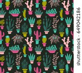 succulents and cacti plants.... | Shutterstock .eps vector #649042186