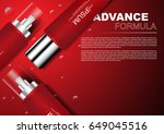 cosmetic ads serums on red... | Shutterstock .eps vector #649045516