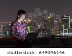 a  woman using laptop with iot  ... | Shutterstock . vector #649046146