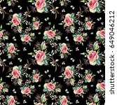 seamless rose pattern and... | Shutterstock . vector #649046212