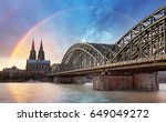 cologne with rainbow  germany | Shutterstock . vector #649049272