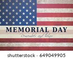 memorial day text card with... | Shutterstock . vector #649049905