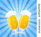 goblet   mugs of beer on blue... | Shutterstock .eps vector #649049998