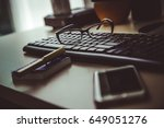 office desk | Shutterstock . vector #649051276