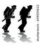 silhouette of a fireman with a... | Shutterstock .eps vector #649054612