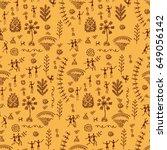 warli art painting seamless... | Shutterstock .eps vector #649056142