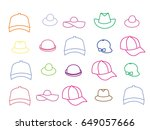 icons of summer hats. colored... | Shutterstock .eps vector #649057666
