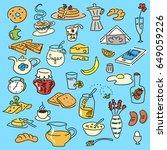 morning breakfast doodle vector ... | Shutterstock .eps vector #649059226