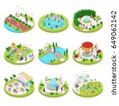 isometric city park composition ... | Shutterstock .eps vector #649062142