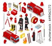 isometric firefighter. fireman... | Shutterstock .eps vector #649062172