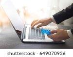 hands of businessman holding... | Shutterstock . vector #649070926