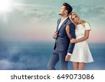 portrait of a young couple... | Shutterstock . vector #649073086