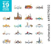 travel to world. airplane with...   Shutterstock .eps vector #649079032