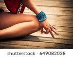 woman hand in yoga symbolic... | Shutterstock . vector #649082038
