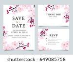 wedding invitation  with ... | Shutterstock .eps vector #649085758