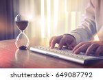man's hands typing on computer... | Shutterstock . vector #649087792