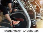 woman cycling burn fat on... | Shutterstock . vector #649089235