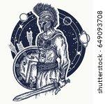 gladiator spartan warrior... | Shutterstock .eps vector #649093708