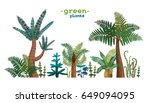 collection of green tropical... | Shutterstock .eps vector #649094095