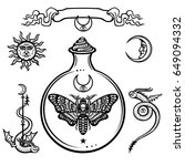 set of alchemical symbols.... | Shutterstock .eps vector #649094332